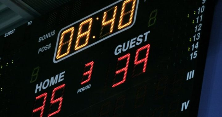 scoardboard at basketball game