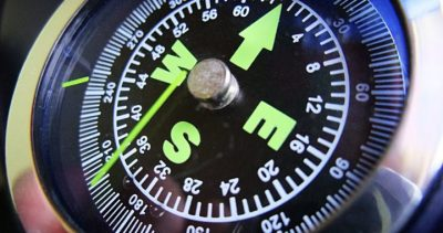 closeup of compass